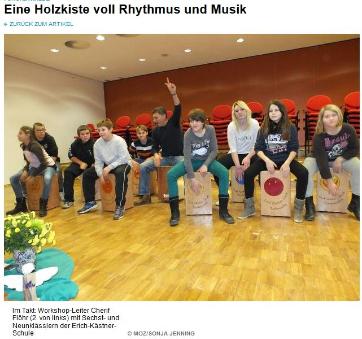 Cajonworkshop Lehrer / Schüler - Erich Kästner Schule Fürstenwalde