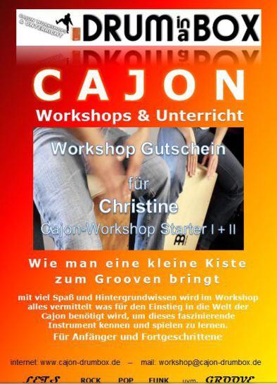 Geschenkgutschein Cajon Workshop und Cajonkurse in Hamburg